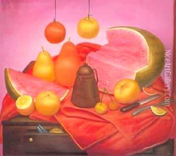 Still Life with watermelon 1976 Oil Painting - Fernando Botero