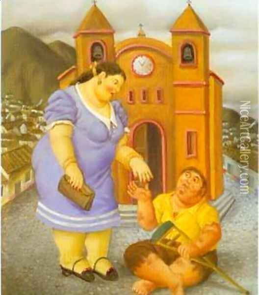 The Charity 1996 Oil Painting - Fernando Botero