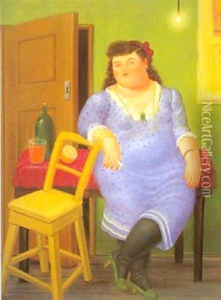 Interior 1994 Oil Painting - Fernando Botero