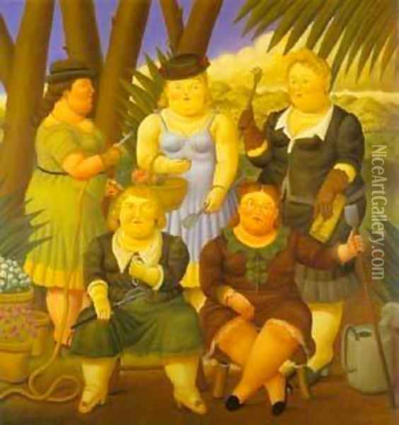 The Gardening Club 1997 Oil Painting - Fernando Botero