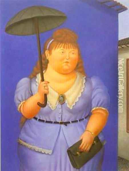 Woman with Umbrella 1995 Oil Painting - Fernando Botero