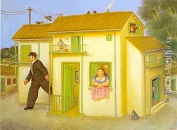The House 1995 2 Oil Painting - Fernando Botero