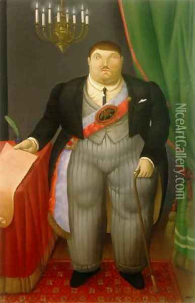 The President El Presidente Oil Painting - Fernando Botero