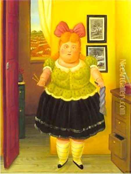 The Seamstress 1990 Oil Painting - Fernando Botero