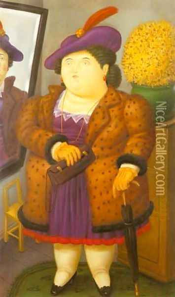 Woman With a Fur Coat 1990 Oil Painting - Fernando Botero