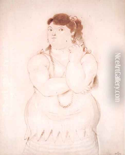 Woman With Cigarette Oil Painting - Fernando Botero
