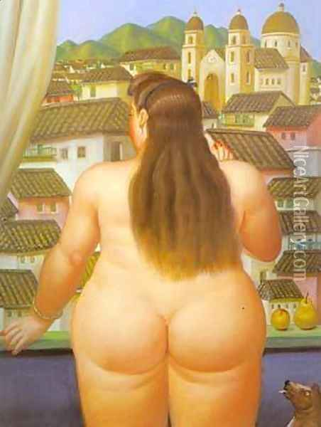 Woman at the Window 1995 Oil Painting - Fernando Botero