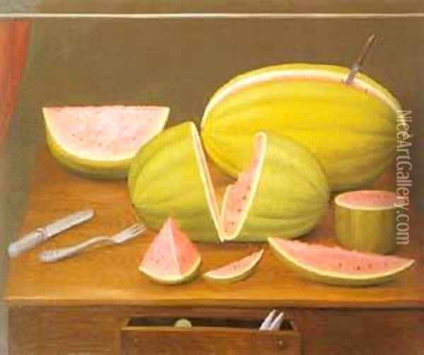 Watermelon 1989 Oil Painting - Fernando Botero