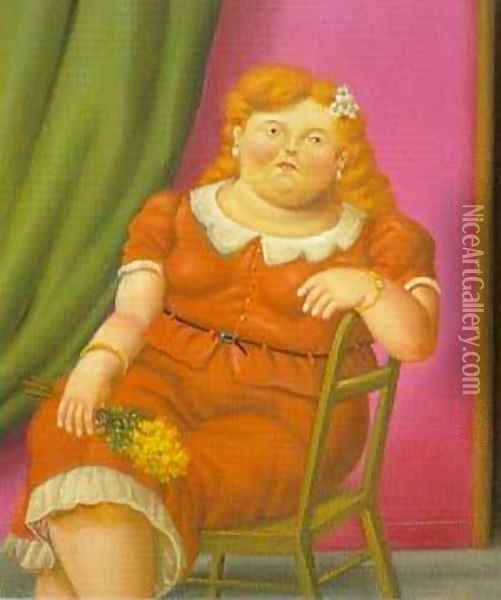 Woman Seated 1997 Oil Painting - Fernando Botero