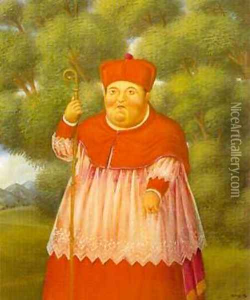 The Bishop in the Woods 1996 Oil Painting - Fernando Botero
