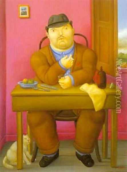Man at The Table 1996 Oil Painting - Fernando Botero
