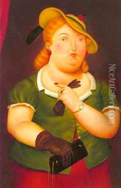 Woman in a hat 1986 Oil Painting - Fernando Botero