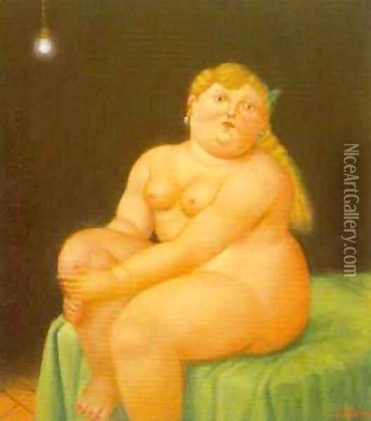 Woman Seated on Bed 1996 Oil Painting - Fernando Botero