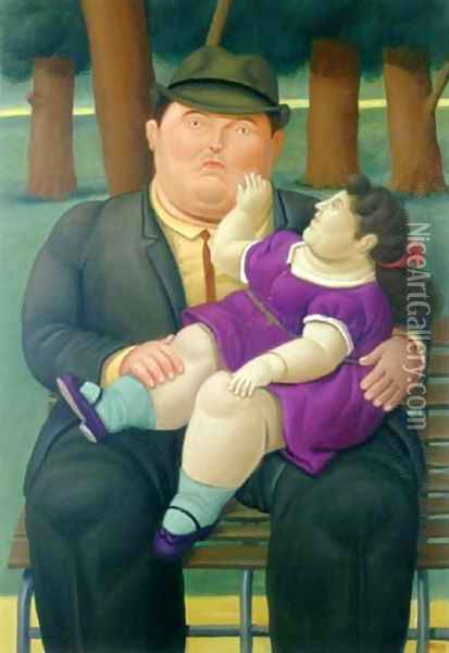In the Parc Oil Painting - Fernando Botero
