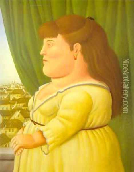 Woman at the Window 1997 Oil Painting - Fernando Botero