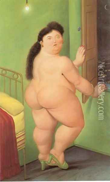 Woman in Front of The Window 1990 Oil Painting - Fernando Botero