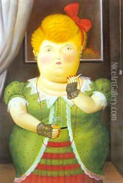 Woman With a Red Bow 1990 Oil Painting - Fernando Botero
