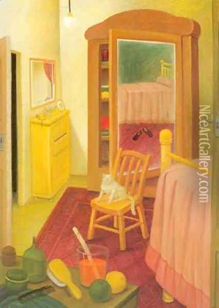 The Bedroom 1993 Oil Painting - Fernando Botero