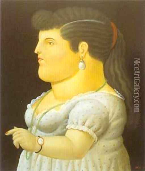 Woman in Profile 1996 Oil Painting - Fernando Botero