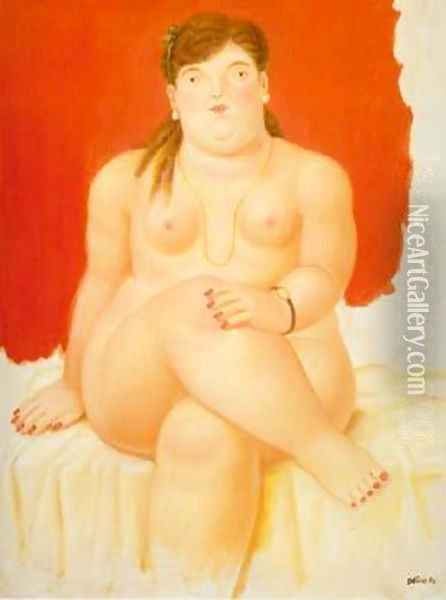 Seated Woman Red 1994 Oil Painting - Fernando Botero