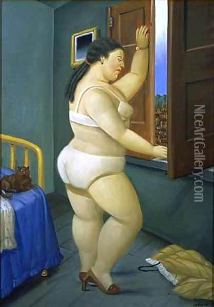 Woman in Front of a Window Oil Painting - Fernando Botero