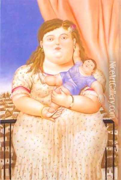 Mother And Son 1993 Oil Painting - Fernando Botero