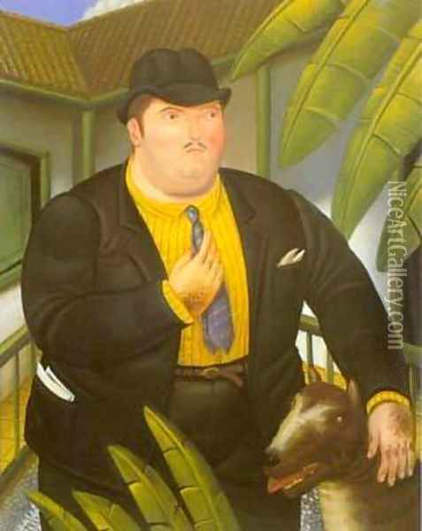 Man With Dog 1989 Oil Painting - Fernando Botero