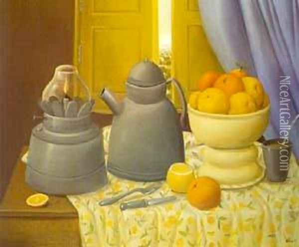 Still Life With Lamp 1997 Oil Painting - Fernando Botero