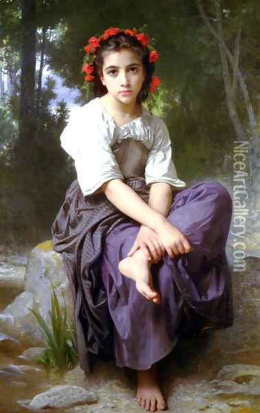 Au Bord Du Ruisseau (At the Edge of the River) Oil Painting - William-Adolphe Bouguereau