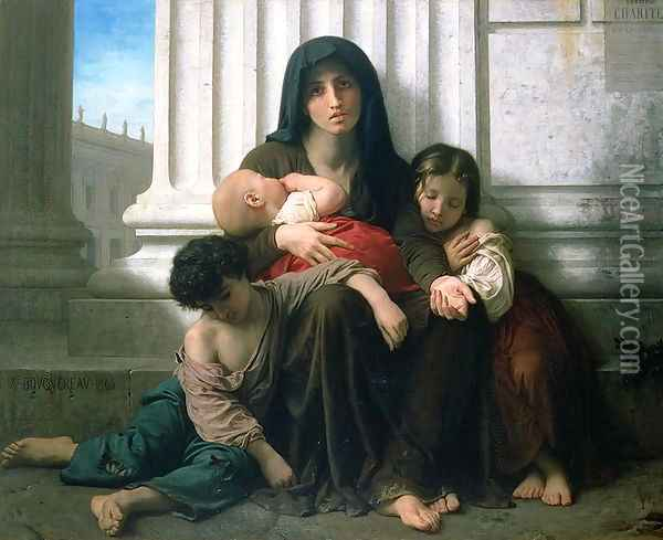 Charity or The Indigent Family', 1865 Oil Painting - William-Adolphe Bouguereau