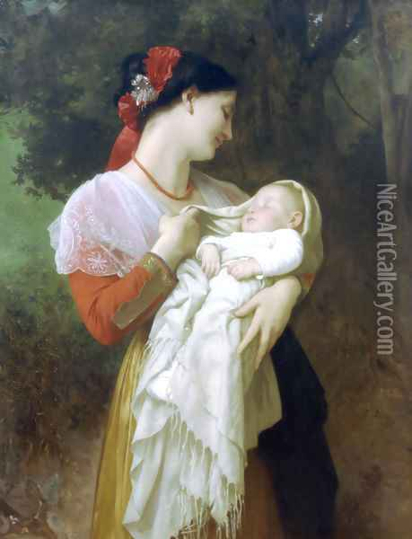 Admiration Maternelle (Maternal Admiration) Oil Painting - William-Adolphe Bouguereau