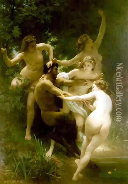 Nymphes et Satyre (Nymphs and Satyr) Oil Painting - William-Adolphe Bouguereau