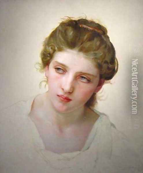 Étude de Tête de Femme Blonde de Face (Study of the Head of a Blonde Woman) Oil Painting - William-Adolphe Bouguereau