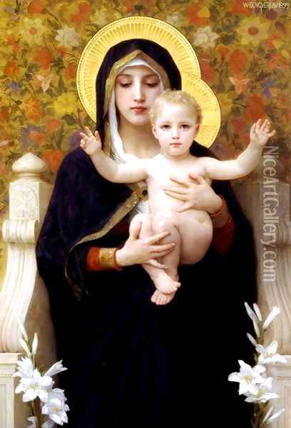 La Vierge au Lys (The Virgin of the Lilies) Oil Painting - William-Adolphe Bouguereau