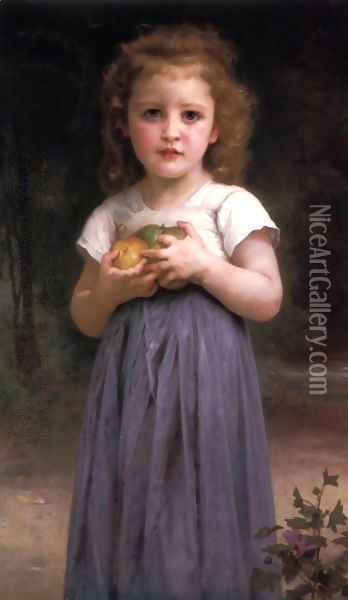 Petite fille tenant des pommes dans les mains (Little girl holding apples in her hands) Oil Painting - William-Adolphe Bouguereau