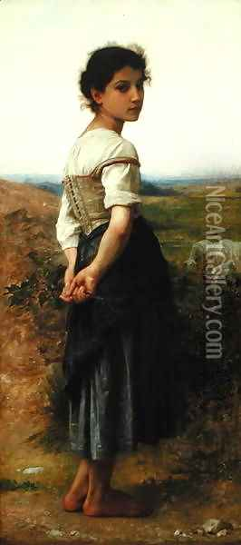 The Young Shepherdess, 1885 Oil Painting - William-Adolphe Bouguereau
