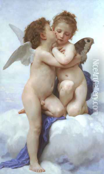 LAmour Et Psyche Enfants Oil Painting - William-Adolphe Bouguereau