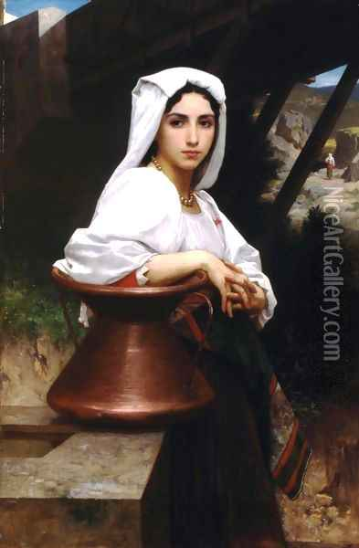 Jeune Italienne puisant de l'eau (Italian Girl Drawing Water) Oil Painting - William-Adolphe Bouguereau