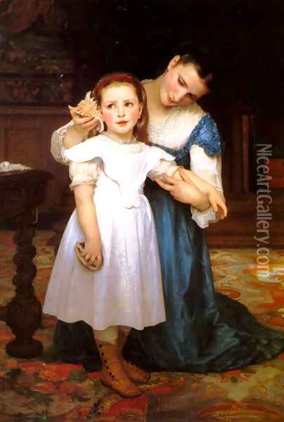 Le Coquillage (The Seashell) Oil Painting - William-Adolphe Bouguereau