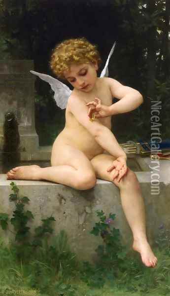 Cupid with Butterfly Oil Painting - William-Adolphe Bouguereau
