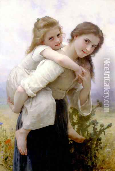 Fardeau Agreable [Not too Much to Carry] Oil Painting - William-Adolphe Bouguereau