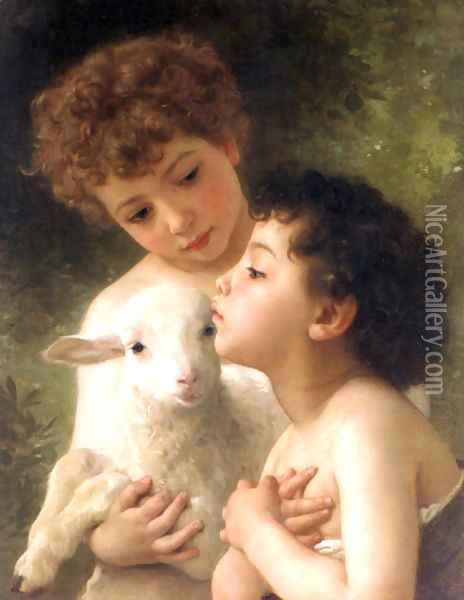 Children With the Lamb (Detail) Oil Painting - William-Adolphe Bouguereau