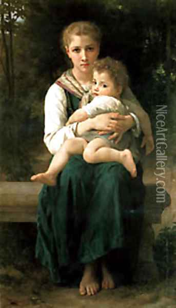 Brother And Sister Oil Painting - William-Adolphe Bouguereau