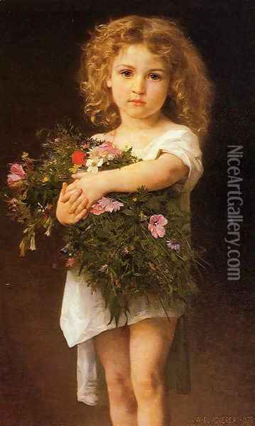 Child With Flowers Oil Painting - William-Adolphe Bouguereau