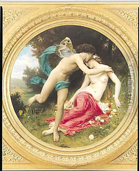 Flora and Zephyr 1875 Oil Painting - William-Adolphe Bouguereau