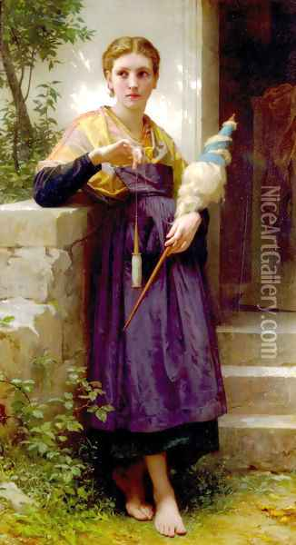 Fileuse (The Spinner) Oil Painting - William-Adolphe Bouguereau