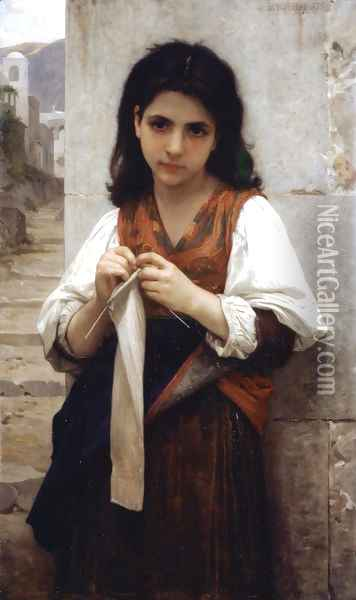 Tricoteuse (The Little Knitter) Oil Painting - William-Adolphe Bouguereau