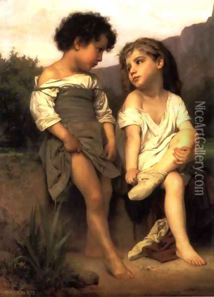 Au Bord du Ruisseau (At the Edge of the Brook) Oil Painting - William-Adolphe Bouguereau