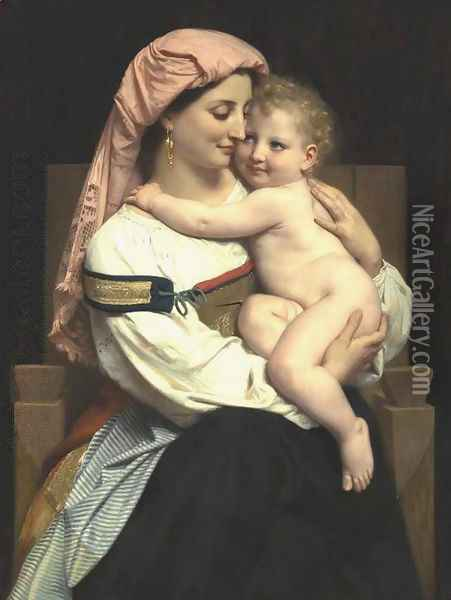 Femme de Cervara et Son Enfant (Woman of Cervara and Her Child) Oil Painting - William-Adolphe Bouguereau