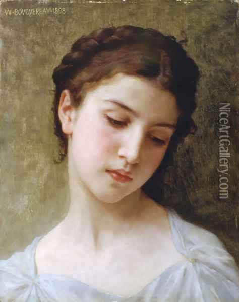 Étude : tête de jeune fille (Study : head of a young girl) Oil Painting - William-Adolphe Bouguereau